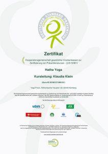 Zertifikat Kooperationsgemeinschaft gesetzlicher Krankenkassen zur Zertifizierung von Präventionskursen